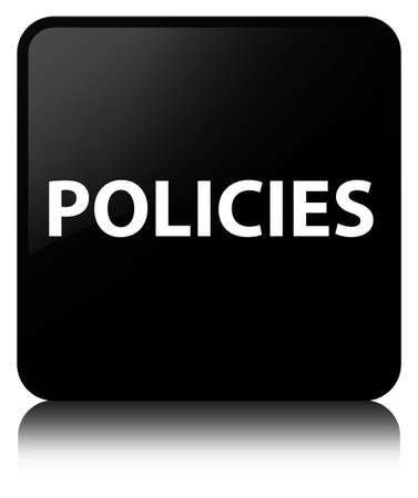 Policies isolated on black square button reflected abstract illustration
