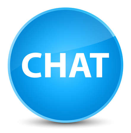 Chat isolated on elegant cyan blue round button abstract illustration Stock Photo