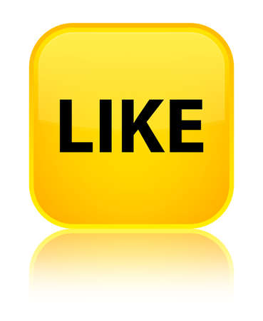Like isolated on special yellow square button reflected abstract illustration Stock Photo