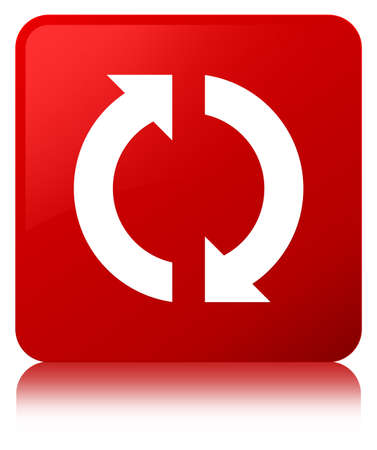 improving: Update icon isolated on red square button reflected abstract illustration