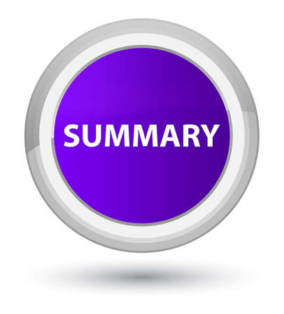 Summary isolated on prime purple round button abstract illustration
