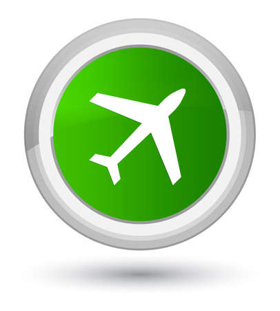 Plane icon isolated on prime green round button abstract illustration