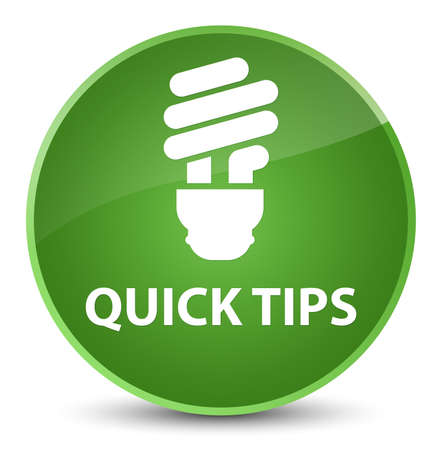 Quick tips (bulb icon) isolated on elegant soft green round button abstract illustration