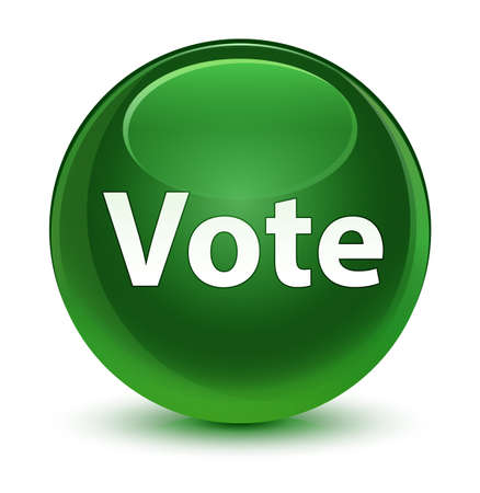 Vote isolated on glassy soft green round button abstract illustration