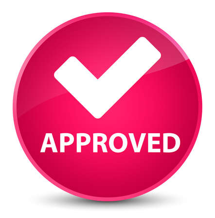 Approved (validate icon) isolated on elegant pink round button abstract illustration