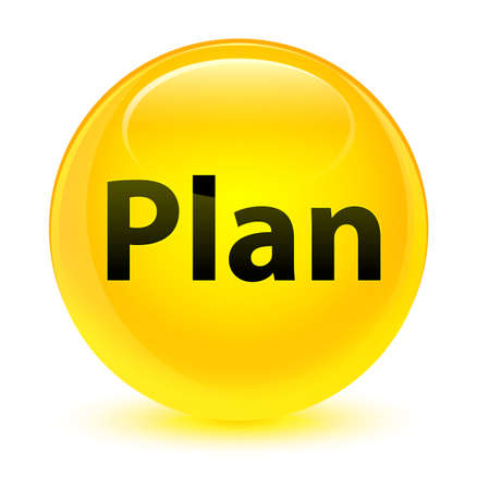 Plan isolated on glassy yellow round button abstract illustration