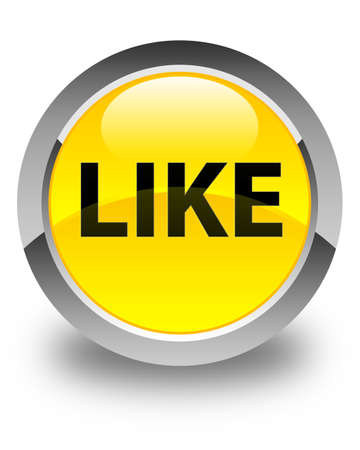 Like isolated on glossy yellow round button abstract illustration Stock Photo