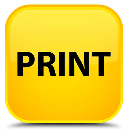 Print isolated on special yellow square button abstract illustration