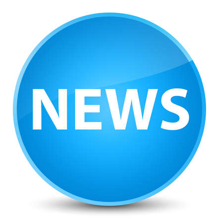bulletin: News isolated on elegant cyan blue round button abstract illustration