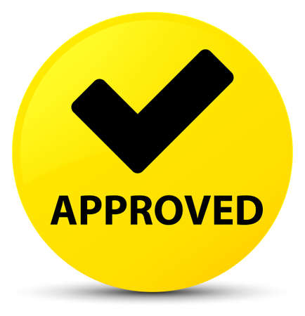 Approved (validate icon) isolated on yellow round button abstract illustration