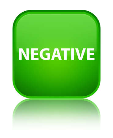 Negative isolated on special green square button reflected abstract illustration