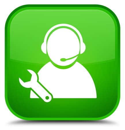 Tech support icon isolated on special green square button abstract illustration Stock Photo