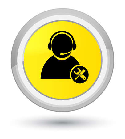 Tech support icon isolated on prime yellow round button abstract illustration