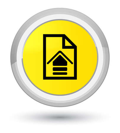 Upload document icon isolated on prime yellow round button abstract illustration Stock Photo