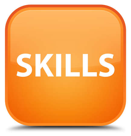 Skills isolated on special orange square button abstract illustration
