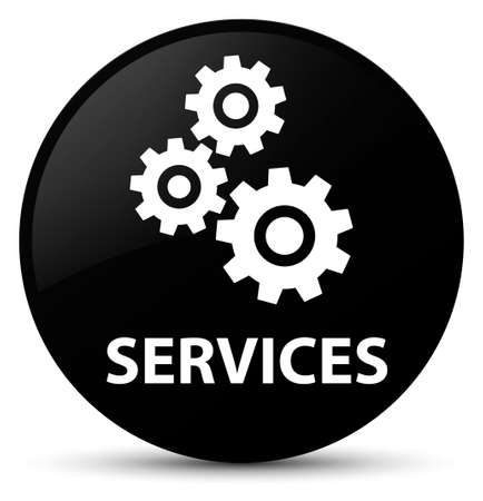 Services (gears icon) isolated on black round button abstract illustration