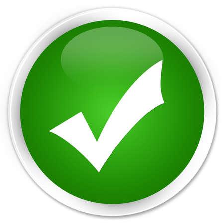 Icône de validation isolé sur illustration abstraite de bouton rond vert premium