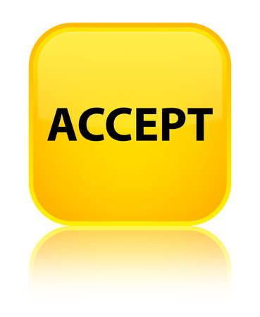 Accept isolated on special yellow square button reflected abstract illustration