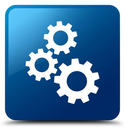 Gears icon isolated on blue square button abstract illustration