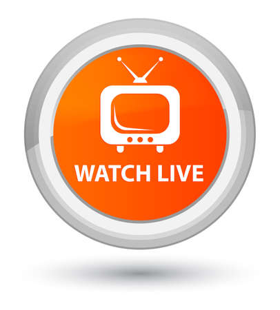 Watch live isolated on prime orange round button abstract illustration