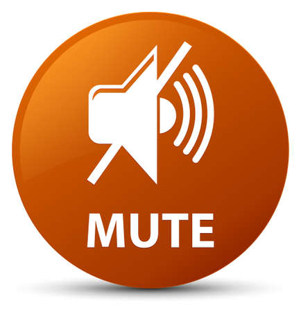 Mute isolated on brown round button abstract illustration