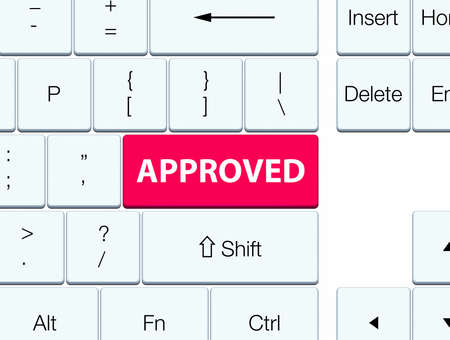 Approved isolated on pink keyboard button abstract illustration