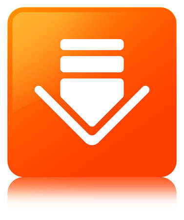 Download icon isolated on orange square button reflected abstract illustration