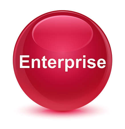 Enterprise isolated on glassy pink round button abstract illustration