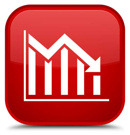 Statistics down icon isolated on special red square button abstract illustration