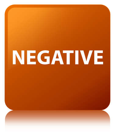 Negative isolated on brown square button reflected abstract illustration Stock Photo
