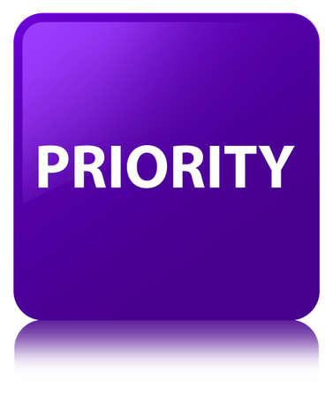 Priority isolated on purple square button reflected abstract illustration Фото со стока