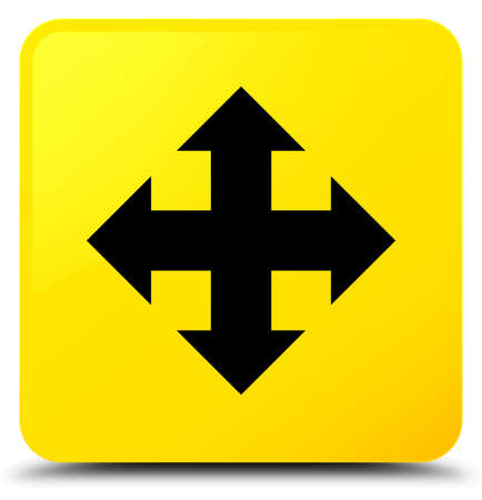 Move icon isolated on yellow square button abstract illustration
