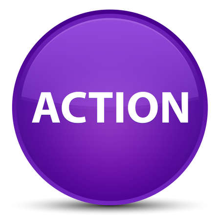 Action isolated on special purple round button abstract illustration
