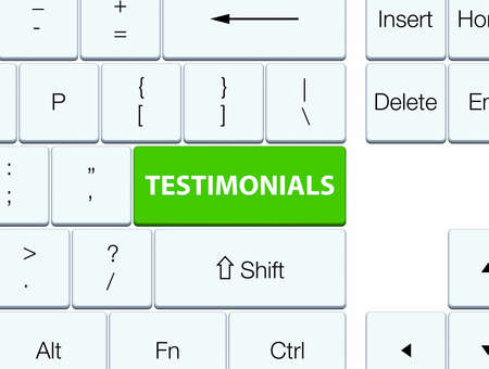 Testimonials isolated on soft green keyboard button abstract illustration Stock Photo