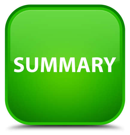 Summary isolated on special green square button abstract illustration Stock Photo