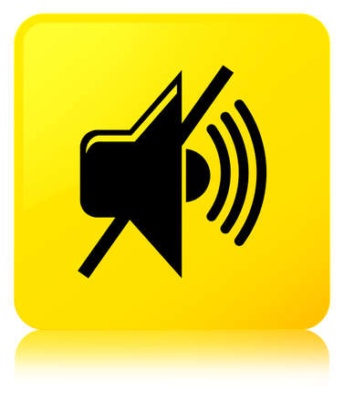 Mute volume icon isolated on yellow square button reflected abstract illustration