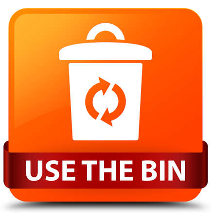 Use the bin isolated on orange square button with red ribbon in middle abstract illustration