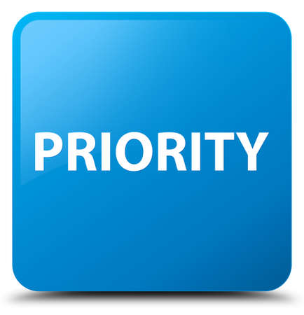 Priority isolated on cyan blue square button abstract illustration Reklamní fotografie