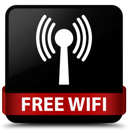 Free wifi (wlan network) isolated on black square button with red ribbon in middle abstract illustration
