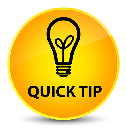 Quick tip (bulb icon) isolated on elegant yellow round button abstract illustration