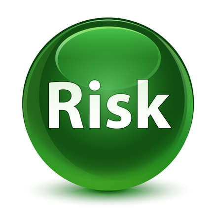 Risk isolated on glassy soft green round button abstract illustration