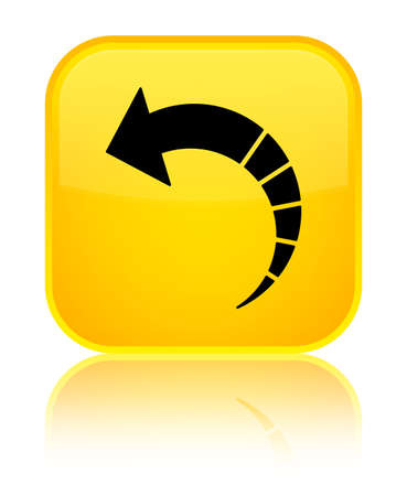 Back arrow icon isolated on special yellow square button reflected abstract illustration Stock Photo