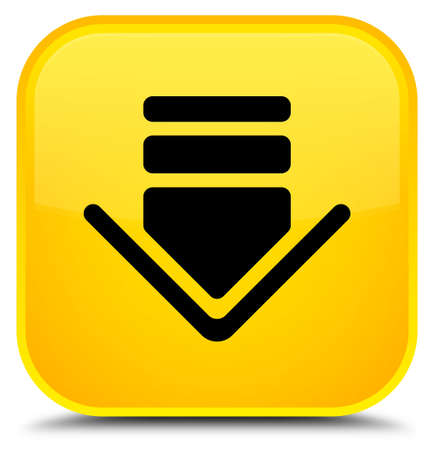 Download icon isolated on special yellow square button abstract illustration Stock Photo