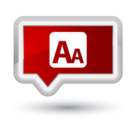 prime: Font size box icon isolated on prime red banner button abstract illustration