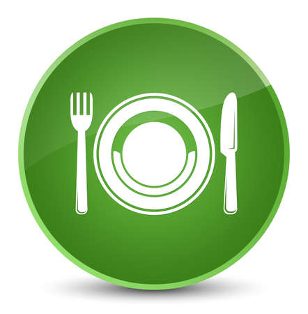 Food plate icon isolated on elegant soft green round button abstract illustration