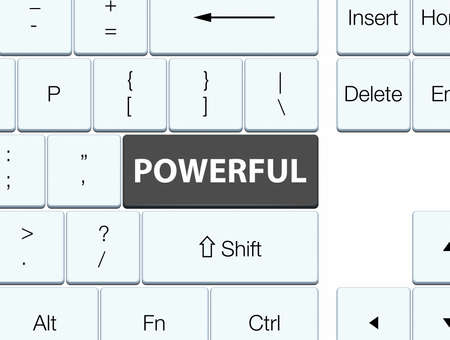 Powerful isolated on black keyboard button abstract illustration