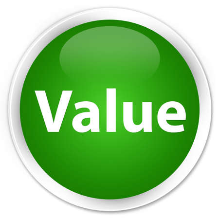 Value isolated on premium green round button abstract illustration