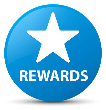 Rewards (star icon) isolated on cyan blue round button abstract illustration