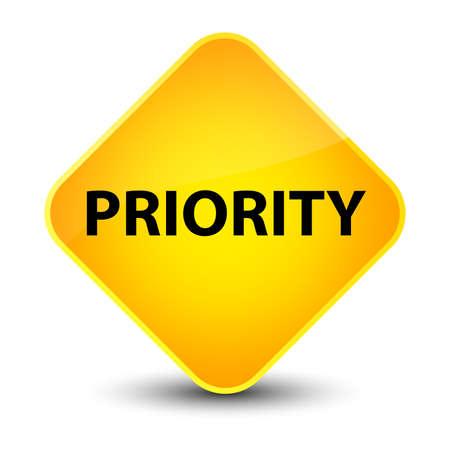 Priority isolated on elegant yellow diamond button abstract illustration Stock Photo