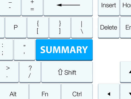 Summary isolated on cyan blue keyboard button abstract illustration